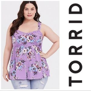 Torrid babydoll crepe swing tank top tunic button